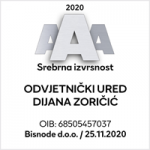 Srebrena izvrsnost 2020 AAA - Odvjetnički Ured Dijana Zoričić